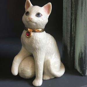 Lenox red birthstone collar cat figurine
